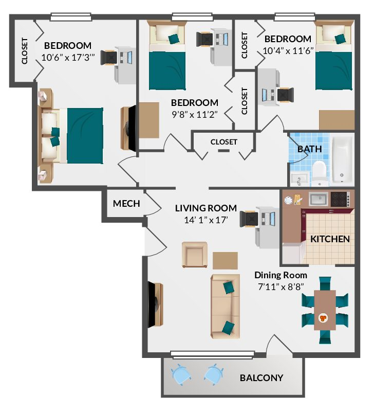 3 Bedroom Floorplan
