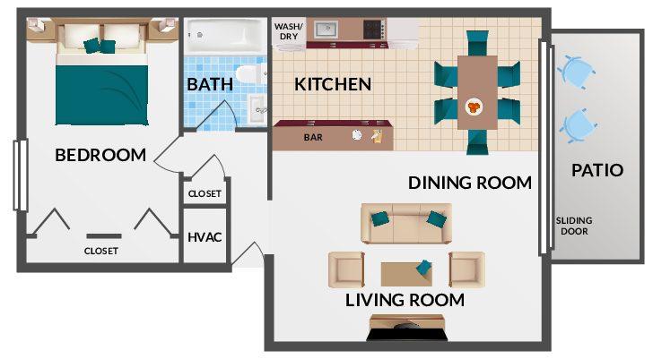 1 Bedroom Alexandria Floorplan